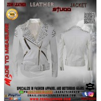 White ladies motorbike jacket with stud Women Punk Rivets Studded Motorcycle Leather Jackets