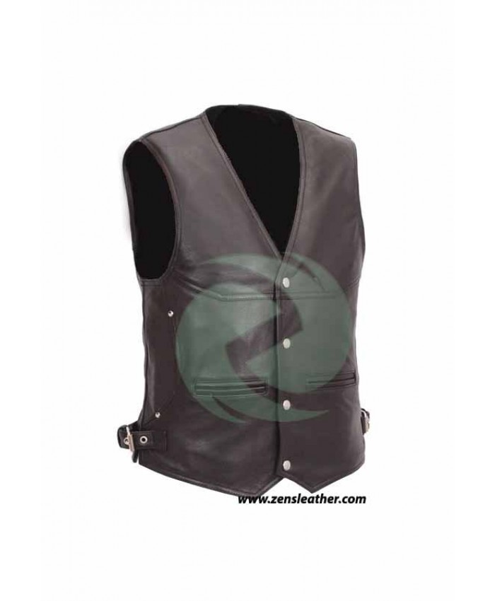 Mens Motorcycle Waistcoat Biker black Vest jacket with side belt