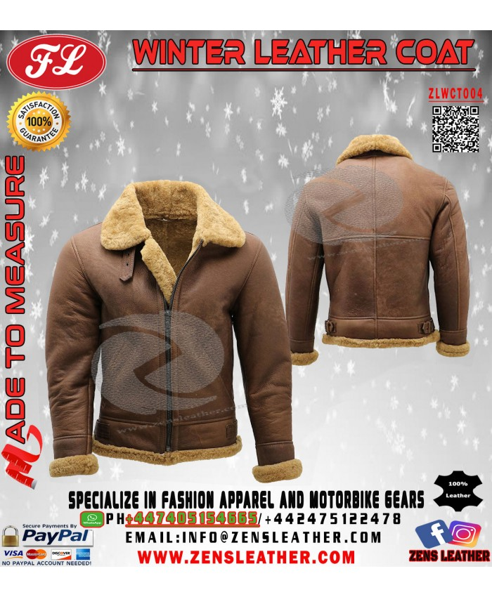 Men brown leather fur jacket winter jacket with fur