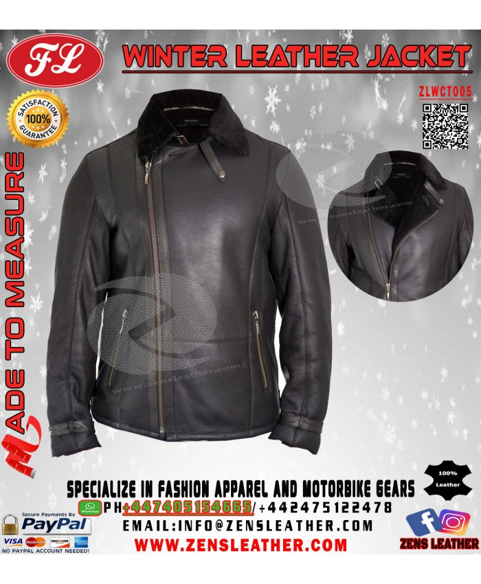 Mens Shearling Sheepskin Flying Jacket