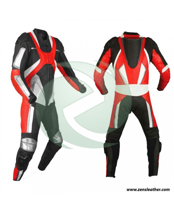 Motorbike One Piece Suit in red and white combination can be customized to your requirment