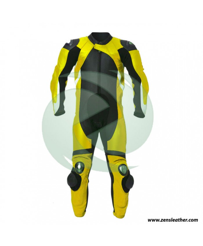 One piece leather suit in yellow and black other colors available any size