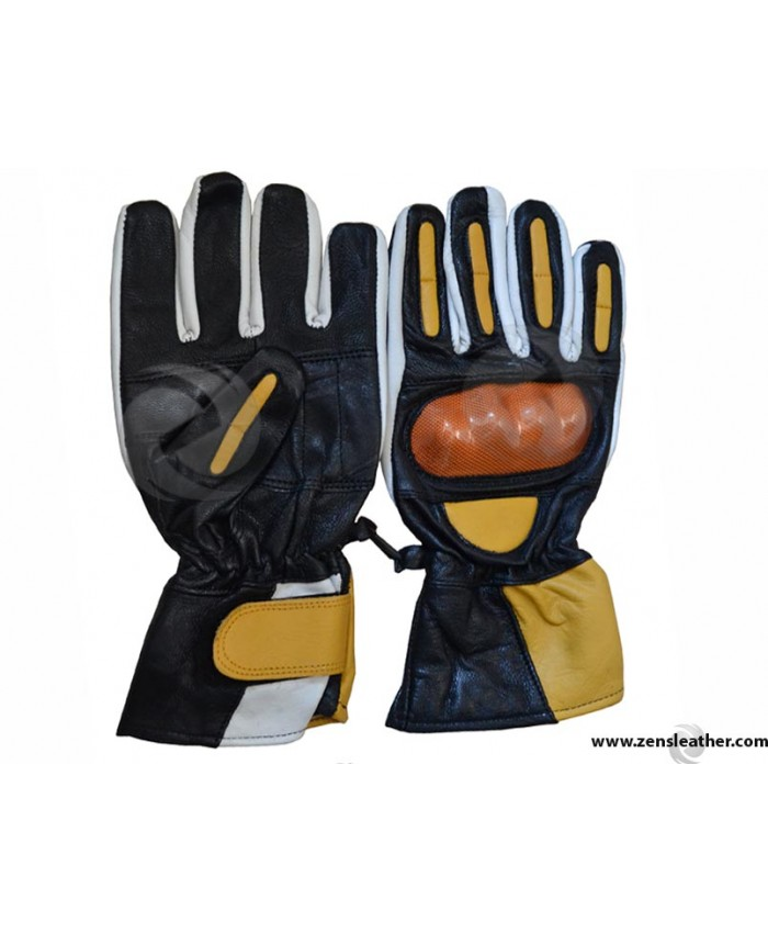 Yellow Motorbike Leather Gloves