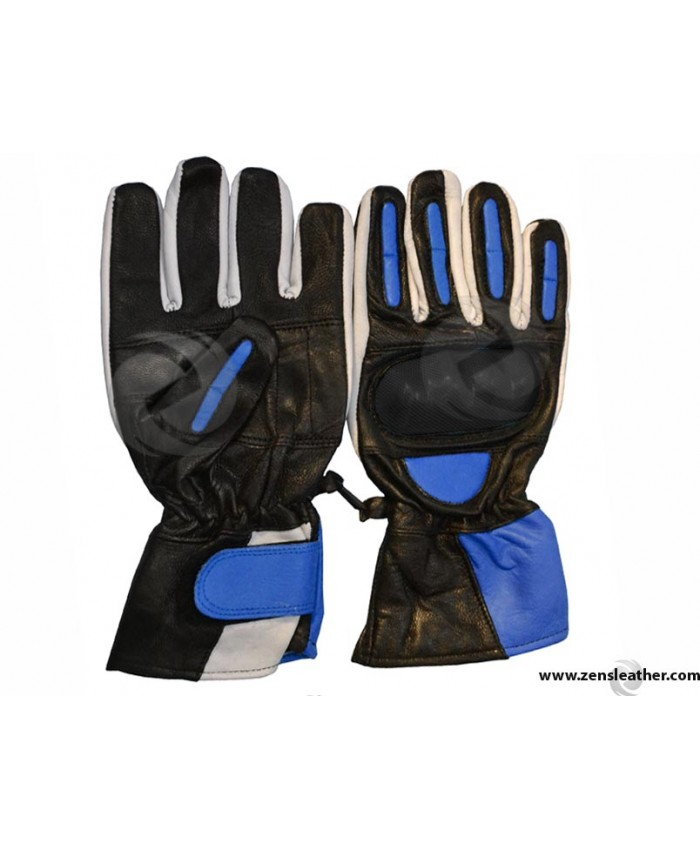 Blue Motorbike Leather Gloves